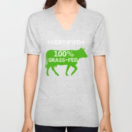 Real Food 100 Percent Grass Fed Beef Organic Food Gift Unisex V-Neck