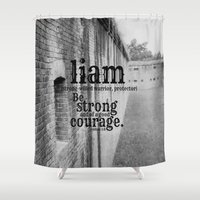 liam payne Shower Curtains featuring Liam strong by KimberosePhotography