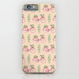 Pink floral bicycle pattern iPhone Case