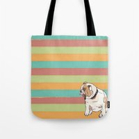 english bulldog Tote Bags featuring Bulldog by Tammy Kushnir