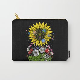 Hippie Sunflower Sacred Geometry Carry-All Pouch