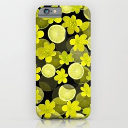 Lime and flowers on black iPhone Case