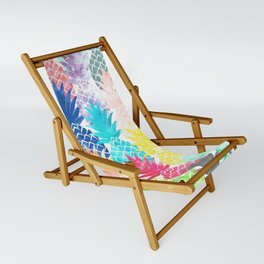 Hawaiian Pineapple Pattern Tropical Watercolor Sling Chair