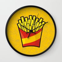 french fries Wall Clocks featuring French Fries by Sifis