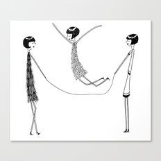 Flappers playing jump rope Canvas Print