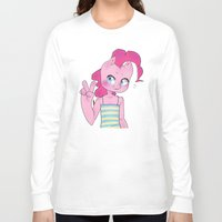 mlp Long Sleeve T-shirts featuring Pinkie Pie Anthro Peace Sign MLP by oouichi
