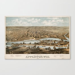 Vintage Pictorial Map of Appleton WI (1874) Canvas Print