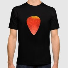 Strawberry  SMALL Black Mens Fitted Tee