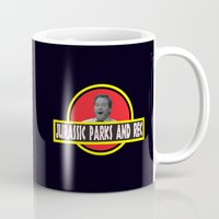 parks and rec Mugs featuring Jurassic Parks And Rec by anthonykun