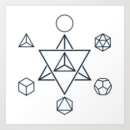 Merkaba and the Platonic Solids, Sacred Geometry Art Print