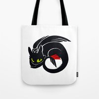 toothless Tote Bags featuring Toothless by Annie Pollock