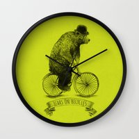 bicycles Wall Clocks featuring Bears on Bicycles (Lime) by Eric Fan