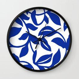 PALM LEAF VINE SWIRL BLUE AND WHITE PATTERN Wall Clock