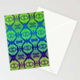 African Vintage Fabric Green Tone Gradient Stationery Cards