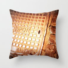 walking in the street Throw Pillow