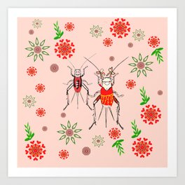 ditsy crickets pink floral Art Print