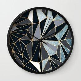 Stylish Art Deco Geometric Pattern - Black, blue, Gold #abstract #pattern Wall Clock