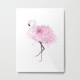 Pink Rose Flamingo Metal Print