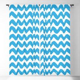 Blue Brushstroke Chevron Pattern Blackout Curtain