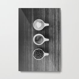 Three Coffee (Black and White) Metal Print