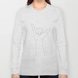 Minimal Line Art Shaka Hand Gesture Long Sleeve T-shirt