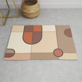Abstract Art Shapes I Browns Rusts Creams Rug