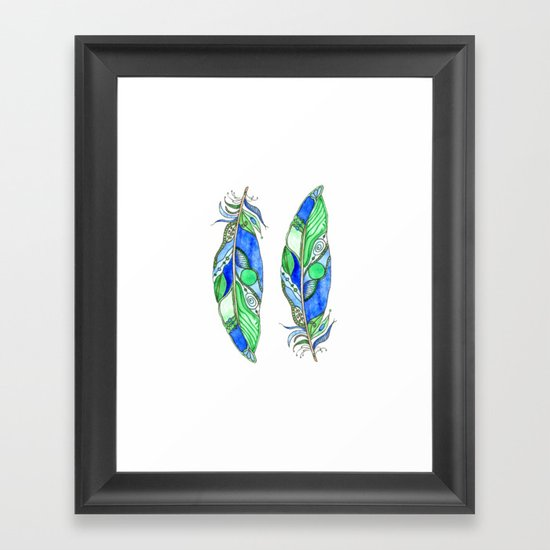Bohemian Spirit Feathers - Blue & Green Framed Art Print