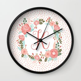 Monogram K - cute girls coral florals flower wreath, coral florals, baby girl, baby blanket Wall Clock