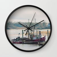 cape cod Wall Clocks featuring Cape Cod Fishing Boat by ELIZABETH THOMAS Photography of Cape Cod