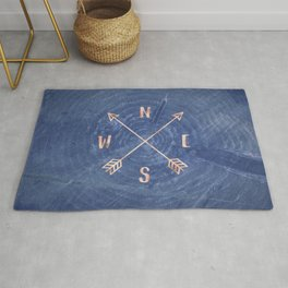 Rosegold and Blue Compass Rug