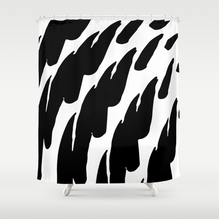 Black Abstract Brush Marks Shower Curtain