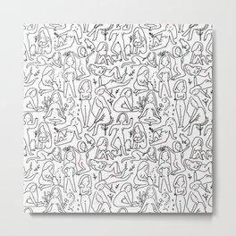 Doodle naked woman Metal Print