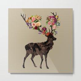 Spring Itself Deer Flower Floral Tshirt Floral Print Gift Metal Print