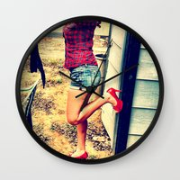 heels Wall Clocks featuring Laundry Heels by RAG3