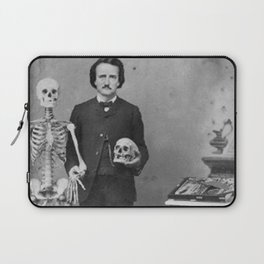 Edgar Allan Poe with Skull and Skeleton macabre black and white photograph Laptop Sleeve