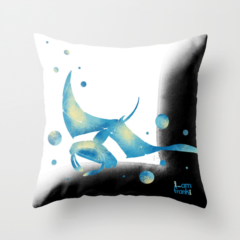 Blue Manta Ray Throw Pillow by Frankiwilson PLW9091120