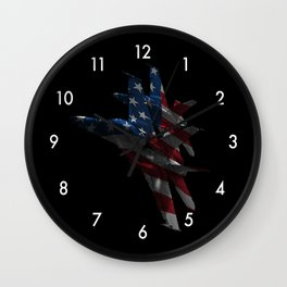 US Military Fighter Attack Jets with American Flag Overlay Wall Clock