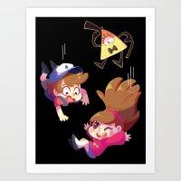 gravity falls Art Prints featuring Gravity Falls by ChocoChaoFun