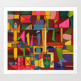 Colors In Collision 1 - Geometric Abstract of Colors that Clash Art Print