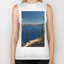 The Deep Blue Of The Crater Lake Biker Tank