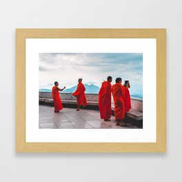 • East Meets West • Monks Taking Photos With I Phone Framed Art Print
