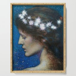 Woman with Luminous Diadems & Stars of Heaven female portrait painting by Edward Robert Hughes Serving Tray