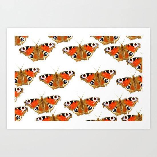 Beautiful Peacock Butterflies Art Print