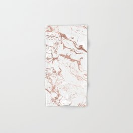 Modern chic faux rose gold white marble pattern Hand & Bath Towel