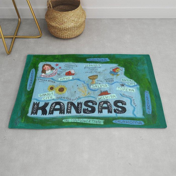 KANSAS map Rug