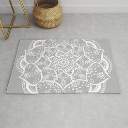 Grey and White Flower Mandala Rug