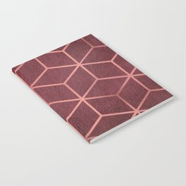 Pink and Rose Gold - Geometric Textured Gradient Cube Design Notebook