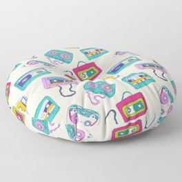 Vintage Cassette Tape Pattern Floor Pillow