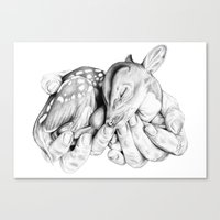 fawn Canvas Prints featuring Fawn by Libby Watkins Illustration
