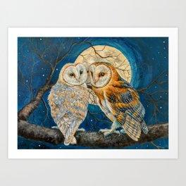 Owls Moon Stars Art Print